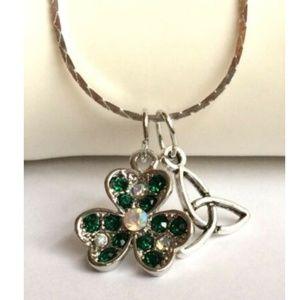 """Jewelry - Silver Shamrock Necklace Celtic Trinity Knot 18"""""""